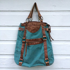 "Handbags - Canvas & Leather 13"" x 13"" x 4"" Hobo Bag"
